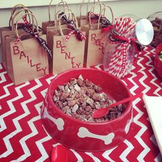 Dog birthday party - put doggy cookie treats in a big dog bowl!