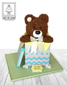 He or She? Gender reveal teddy in a box cake. Original design by Shawna McGreevey
