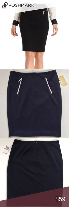 NEW✨ MICHAEL Michael Kors Navy Blue Pencil Skirt MICHAEL Michael Kors Pencil Skirt. Features Navy Blue with White Trimmed Waistband. Slanted White Zippered Pockets are Functional and can carry small items such as credit card, etc. Hidden zipper in back with hook & eye closure. Model pics are a very similar MK skirt for styling purposes. Brand New with Tags.   Material: 70% Polyester 20% Rayon 5% Spandex  Biz Casual dressy pencil skirt MICHAEL Michael Kors Skirts Pencil