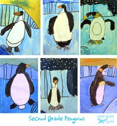 How to draw and paint a penguin. Art project for first and second grade