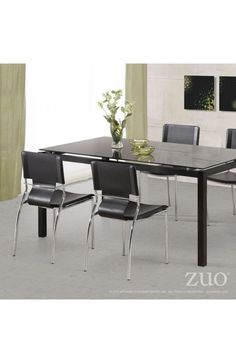 Trafico Dining Chair - 404131Description :As conference or dining chair, the Trafico simply works. It is made with a leatherette sling and a chromed steel tube frame. Features :Color :Black    Product Cover (Upholstery Material or Type of Metal):LeatheretteProduct Finish (Structure Materiel or Type of Wood): Chromed SteelDimensions :Chair : 17