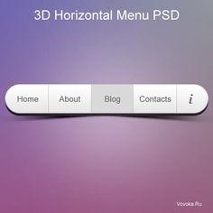 3D Горизонтальное Меню PSD