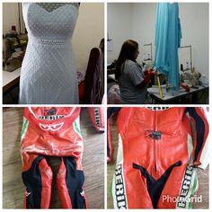 Vamos lá  iniciar a sexta feira com Ajustes em vestidos de festas, restauração  em macacão de motociclista e pintura em couro