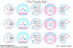 """Snow Cute"" Winter Bears <3 Shop our Digital Bottle Cap Images @ www.thetrendyowl.com!"