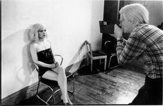 Andy Warhol and Debbie during the polaroid session at the Factory 1980