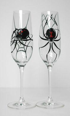 Black Widow Spider Halloween Toasting Flutes--