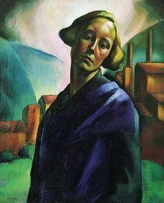 Erzsébet Korb (1899-1925) - Self portrait - Hungarian artist,Style:Art Deco 1921