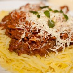 This recipe is paleo AND gluten-free. Try this spaghetti squash pasta and garlicky beef bolagnese.
