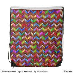 Chevron Pattern Digital Art Faux Leather Backpack