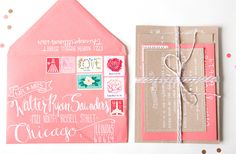 hand lettered envelopes - love all the stamps!