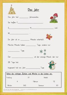Gap text for the year . - Lernen - Welcome Education Primary Education, Primary School, Educational Websites, Educational Technology, German Resources, Kindergarten Portfolio, German Grammar, German Language Learning, Learn German