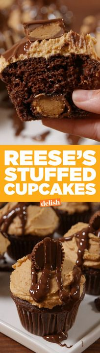 You have to see what these Reese's Stuffed Cupcakes look like inside. Get the recipe from Delish.com.