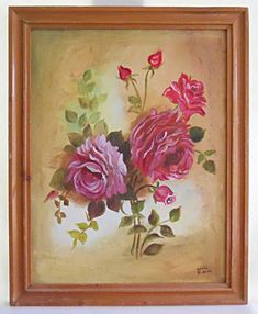 Roses Floral Flower Vintage Original Painting Botanical Romantic Pink Sonia 1982  | eBay Pink Painting, Flower Vintage, Pink Art, Floral Flowers, Original Paintings, Roses, Romantic, The Originals, Inspiration