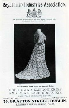 Royal Irish Industries Association - Dublin - Historical Fashion Advertisement - 1907 Exquite lace dresses for formal engagements - Fine Women's Fashions from the early 1900's featuring authentic and highly sought after Irish Lace and hand emborideries. Fit for Fine dining in a first cabin dining saloon abord a luxurious steamship of the day. Royal Irish Industries Association.     Exquite lace dresses for formal engagements - Fine ...