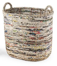 Palecek prides themselves on making and creating eco-friendly storage baskets. Recycled newspapers become functional art for the home. Beautiful weaved design is sturdy enough for a full load of magazines or newspapers with splashes of color to add visual interest to any room. This unique storage basket is handmade so no two are alike.