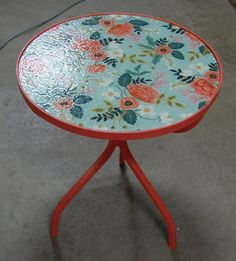 Painted Side Table or Patio Table with Glass Top by CountryChicSisters on Etsy Patio Table, Outdoor Tables, Painted Side Tables, Country Chic, Painted Furniture, Chair, Glass, Sisters, Top