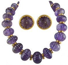 Zolotas 22k gold carved amethyst necklace and earrings.