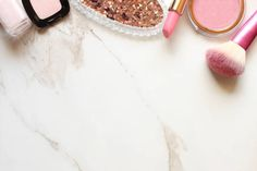 pink make up products frame open space with room for copy