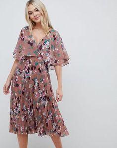 2a5710dd2fa57 Achetez ASOS DESIGN - Robe mi-longue à manches évasées avec jupe plissée et  imprimé