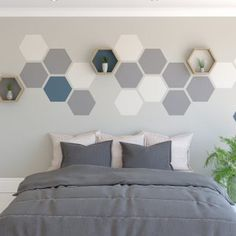 Wall feature painted hexagons on a wall how to paint a hexagon feature wall hexagon shelf You can create a striking hexagon wall feature using just our Hexagon Painting Tool. Get creative with paints that you might have left over. Bedroom Paint Design, Bedroom Wall Designs, Accent Wall Bedroom, Bedroom Decor, Paint Accent Walls, Accent Wall Designs, Master Bedroom, Painted Feature Wall, Geometric Wall Paint