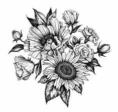 Flower tattoos, sunflower tattoo sleeve, shoulder sleeve tattoos, f Band Tattoos, Neck Tattoos, Body Art Tattoos, Tattoo Drawings, Cool Tattoos, Awesome Tattoos, Tatoos, Spine Tattoos, Back Of Forearm Tattoo
