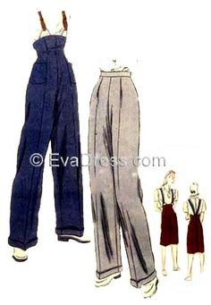 Sewing pattern reproduction from evadress.com: womens trousers