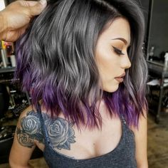 ❤️See what a deep and bright look you can get with purple highlights! Purple balayage, blue ombre, and many cool hair color ideas are here! Hair Color 2018 Soft Purple Ombre For Your Ends Hair Color 2017, Cool Hair Color, Unique Hair Color, Unique Hair Cuts, Hair Colour, Violette Highlights, Purple Balayage, Dark Hair Purple Highlights, Purple Hair Streaks