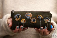 Hand embroidered zipper pouch with French knots
