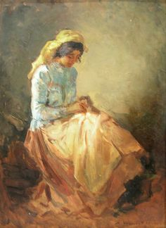 Femeie cosând (Woman Sewing) - Nicolae Vermont (1866–1932)* Gabriel Salazar, Painting People, Labor, Art Themes, Female Images, Old Pictures, Vermont, Amazing Art, Needlework