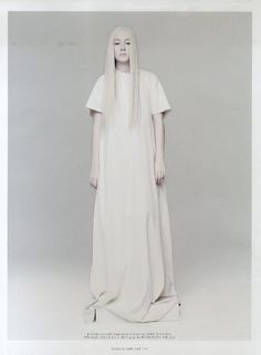 White, found in Maison Martin Margiela offices, in all its shops and sometimes even painted across clothes, is the Maison's main colour.    Check out Irish actress Saorise Ronan wearing a Maison Martin Margiela t-shirt dress from the Spring-Summer 2013 collection, during her cover shoot for April's Dazed and Confused Magazine.    Photographed by Rankin and styled by Cathy Edwards.