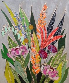Lulie Wallace floral actylic painting