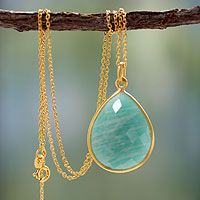 Gold vermeil and amazonite pendant necklace, 'Island Fantasy' by NOVICA