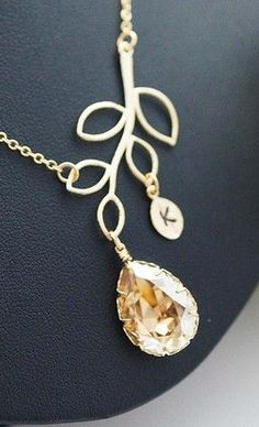 Personalized Golden Shadow Swarovski and Simple Leaf initial Necklace