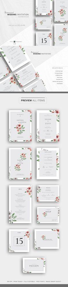 Botanical Wedding Invitation Suite. Wedding Card Templates