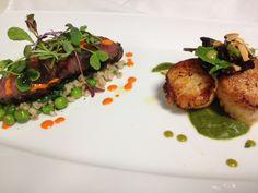 Surf & Turf: Spice Grilled Hangar Steak, Toasted Barley & English Pea...