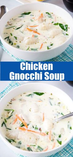 Chicken Gnocchi Soup - Olive Garden Chicken Gnocchi Soup at home! This version is lightened up a little bit, so you can eat it any day of the week with no guilt! Best Soup Recipes, Best Chicken Recipes, Delicious Dinner Recipes, Yummy Food, Favorite Recipes, Chili Recipes, Amazing Recipes, Turkey Recipes, Copycat Recipes