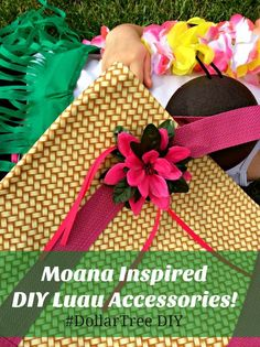 DIY Luau Flower Hair Clips and Beach Bag - dollar store crafts - kids crafts - moana themed diy Craft Projects For Adults, Easy Craft Projects, Craft Tutorials, Easy Crafts, Kids Crafts, Project Ideas, Summer Fun For Kids, Diy For Kids, Flower Hair Clips