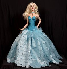 """""""Mermaid"""" OOAK gown for Sybarite and Ficon dolls http://michaelscottdesigns.weebly.com/mermaid.html"""