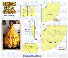 Boy George Fashion And Makeup Book Princess Dress Patterns, Baby Dress Patterns, Disney Princess Dresses, Kids Patterns, Barbie Sewing Patterns, Doll Clothes Patterns, Sewing Clothes, Costume Prince, Belle Costume