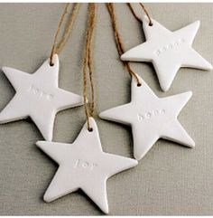 Love Joy Hope Peace Embossed Christmas Stars Set of 4 White Clay Gift Tags Ornaments Decorations Wishes Clay Christmas Decorations, Christmas Clay, Christmas Makes, Homemade Christmas, Christmas Crafts, Christmas Stars, Christmas Ornaments, Christmas Wrapping, Navidad Diy