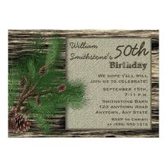 Rustic Country Burlap Wood 50th Birthday Party Card