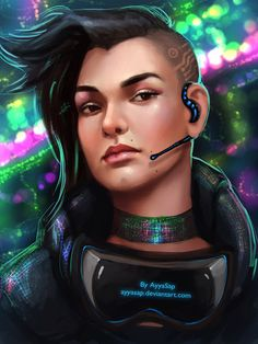 Human operative with comms and VR goggles, cyberpunk / sci-fi inspiration