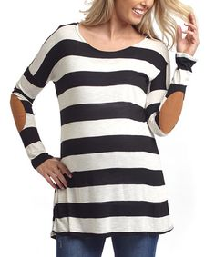 Loving this PinkBlush Black & Ivory Stripe Elbow Patch Maternity Top on #zulily! #zulilyfinds