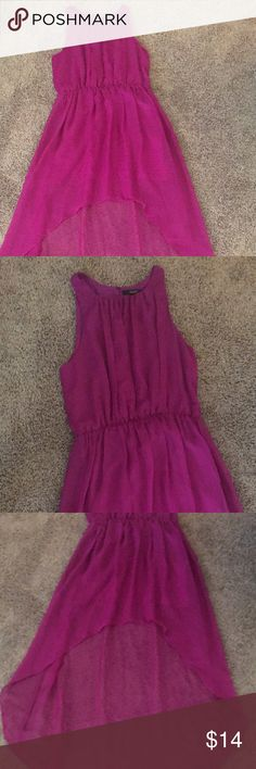 Flowy High-Low Cinched Waist Dress Adorably bright colored flowy high low dress with a cinched waist and cute detailing in the front. Brand new without any signs of wear. All bundles and purchases also come with same day shipping and a surprise gift. Dresses High Low