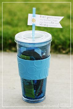 "End of year Teacher gift - fill the cup with treats, a lemonade packet, and an iTunes or other gift card. Flag says, ""Thank you for being my teacher. I hope you have a fun and relaxing summer!"""