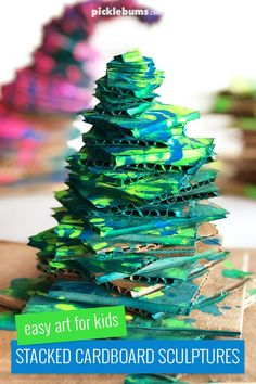 Epicly Cool Stacked Cardboard Sculptures For Kids is part of Kids Crafts Projects Art Activities Sometimes just painting with regular paint on regular flat paper is boring Sometimes you want to cre - 3d Art Projects, Preschool Art Projects, Recycled Art Projects, Sculpture Projects, Art Activities For Kids, Projects For Kids, Crafts For Kids, Process Art Preschool, Reggio Art Activities