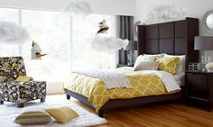 Dijon In The Boudoir featuring Greyson Bedroom Collection and Cinderella Custom Chair from #urbanbarn #dijon #yellow