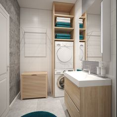 70 Super Ideas For Bathroom Small Laundry Mirror Bathroom Storage Over Toilet, Counter Top Sink Bathroom, Bathroom Mirror With Shelf, Wood Bathroom, Laundry In Bathroom, Bathroom Furniture, Small Bathroom, Bathroom Pink, Small Laundry