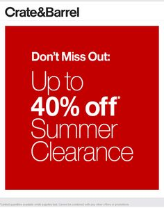 Pinned June 5th: 40% off clearance sale going on at #CrateBarrel #TheCouponsApp