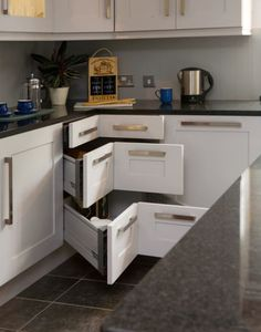 this is a great 50's kitchen with a unique idea for that corner
